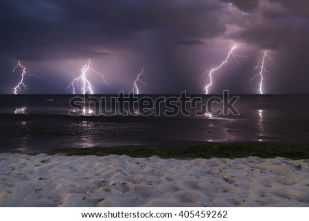 clouds and thunder lightnings and storm in Bulgaria