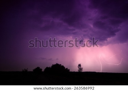 clouds and thunder lightnings and storm in Hungary - stock photo