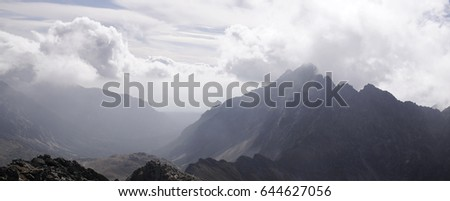 Clouds and views of High Tatras Mountains. Slovakia