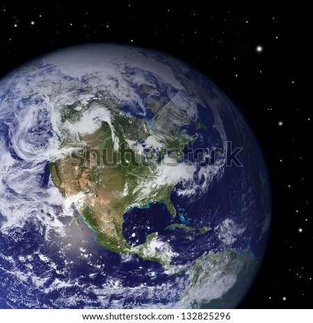 Clouds atmosphere from space with view on America -  Elements of this image furnished by NASA - stock photo