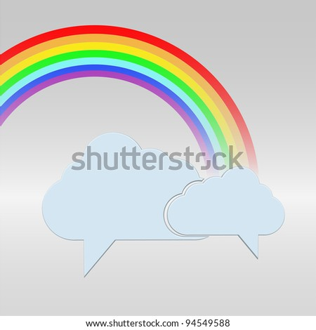 clouds bubble speech with a rainbow - stock photo