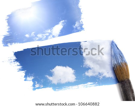 Clouds float on the blue sky.