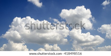 Clouds flying in summer sky. Spiritual background, atmosphere of meditation and serenity  - stock photo