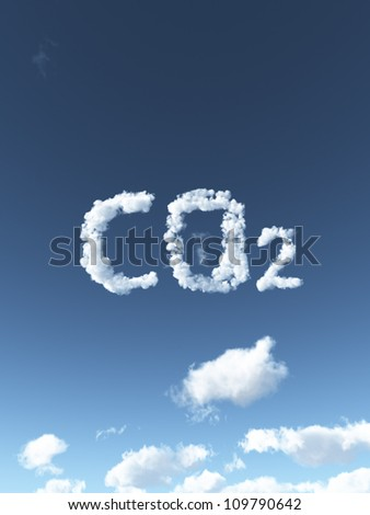 clouds forms the symbol co2 - 3d illustration - stock photo