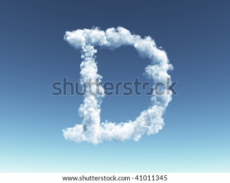 clouds forms the uppercase letter D in the sky - 3d illustration