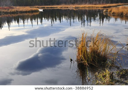 Clouds in a Lake - stock photo
