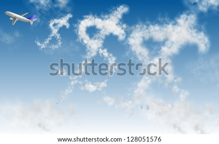Clouds in a shape of dollar symbol and an airplane / Flying dollar - stock photo