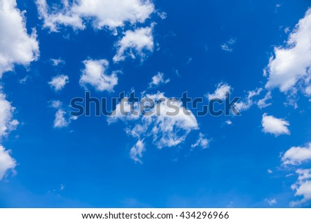 Clouds in  blue sky, blue sky with clouds, blue sky with fluffy clouds close, soft white clouds in blue sky - stock photo