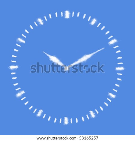 Clouds in shape of Clock face - stock photo