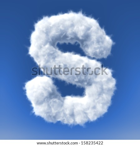 Clouds in shape of the letter - stock photo