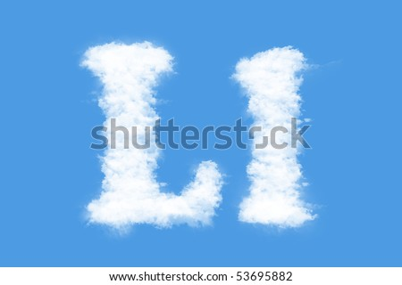 Clouds in shape of the letter L - stock photo