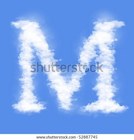 Clouds in shape of the letter M - stock photo