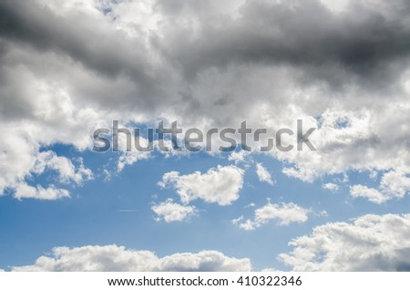 clouds in the blue sky / blue sky with cloud / Nice white cloud on the sky /  blue sky background with tiny clouds / Sky clouds / Blue sky / white fluffy clouds in the blue sky  - stock photo