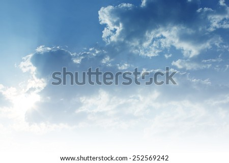 Clouds in the sky with the imagination of a child. Tales of endless light Freedom of thought in childhood - stock photo