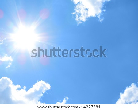 Clouds on blue sky and sun shine. Background - stock photo