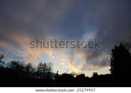 Clouds on field. - stock photo