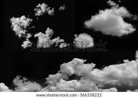 clouds on isolated black background