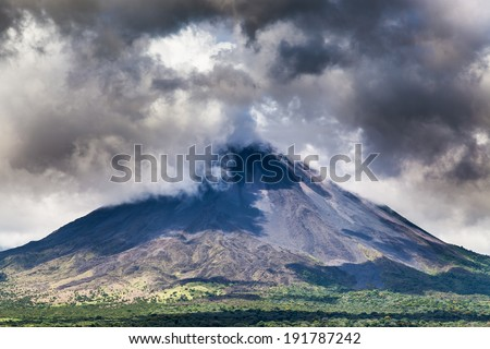 Clouds over a volcano, Costa Rica - stock photo