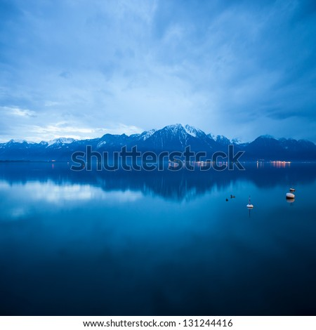 clouds over lac leman - stock photo