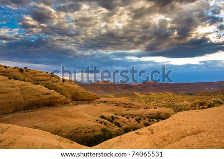 Clouds over Moab Valley at Dusk - stock photo