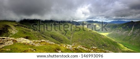 Clouds over the Crinkles - stock photo