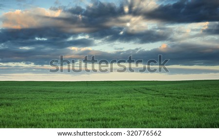 Clouds over the field - stock photo