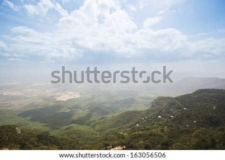 Clouds over the landscape, Yercaud, Tamil Nadu, India - stock photo