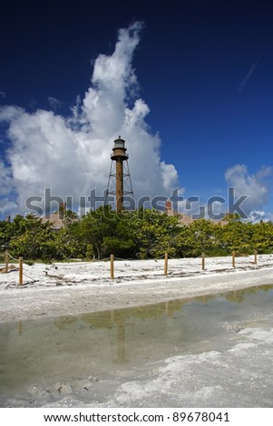 Clouds Over the Sanibel Island Lighthouse, South Florida - stock photo