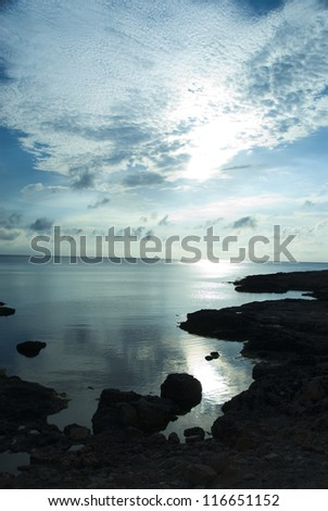 Clouds over the sea, Malta - stock photo