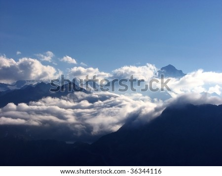 Clouds over the swiss alps.