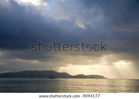 Clouds over water - stock photo