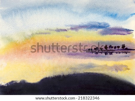 clouds reflected in the clear water - stock photo