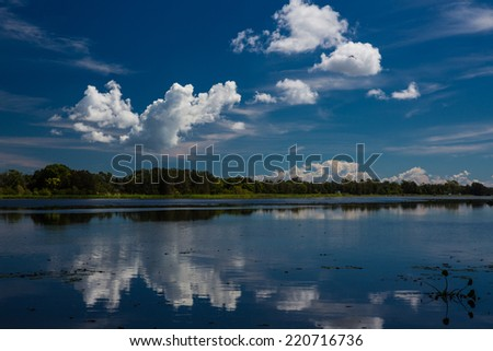 Clouds reflecting in the lake, Australia - stock photo