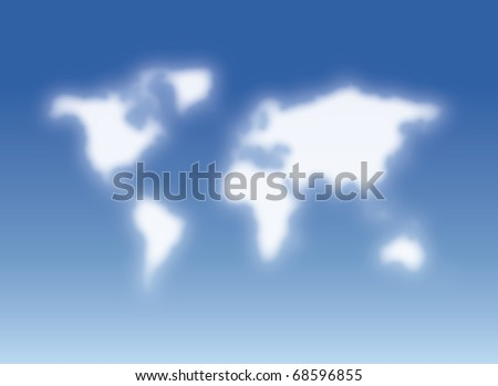 clouds resembling the world - stock photo