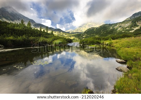 clouds sky reflection - stock photo