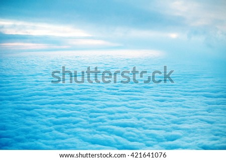 clouds view from aircraft airplane  - stock photo