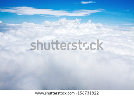Clouds. view from the window of an airplane flying. - stock photo