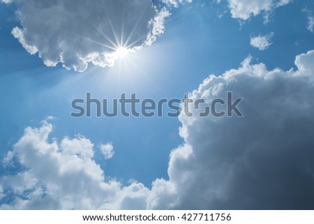 clouds white soft in the vast blue sky - stock photo