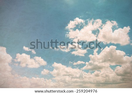 clouds with blue sky, Vintage style and soft light - stock photo