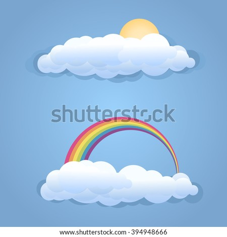 Clouds with sun and rainbow symbol isolated .Raster
