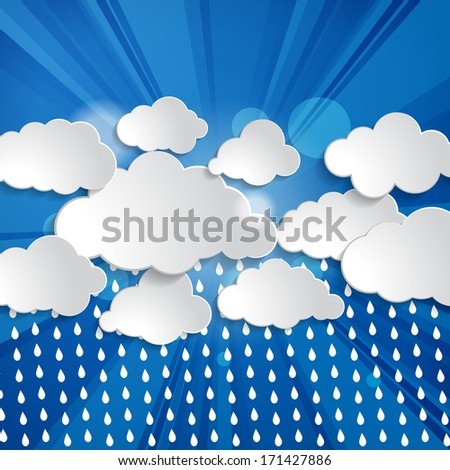 clouds with sun rays and rain drops on a blue background