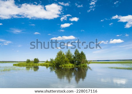 Cloudscape Above Lake Serenity  - stock photo