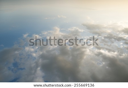 Cloudscape at sunrise in aerial view - stock photo