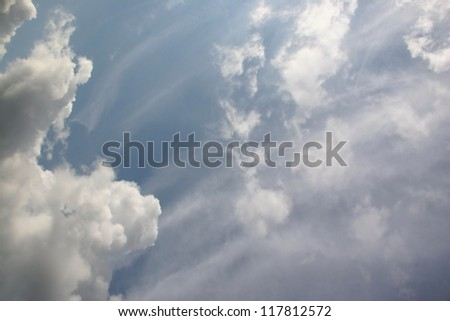 cloudscape of light fluffy clouds
