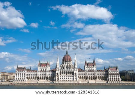 cloudscape on Hungarian Parliament, Budapest - stock photo