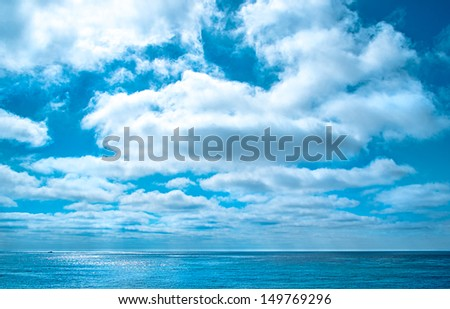 Cloudscape Over the Ocean, Pacific Ocean Seascape - stock photo