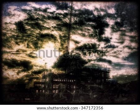 Cloudscape showing sunset, London, England, United Kingdom, Europe - stock photo