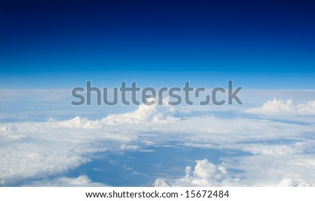 Cloudscape view from 30000 ft. - stock photo