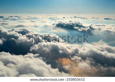 Cloudscape viewed from air. - stock photo