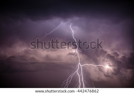 Cloudscape with lightning bolt hitting among the clouds